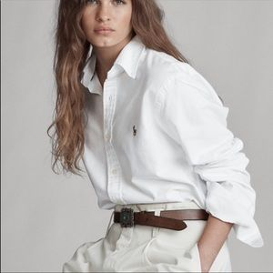 Ralph Lauren White Oxford Long Sleeve Button Down